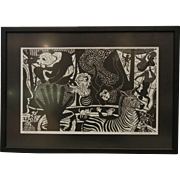 'Between Profiles' 1976 Woodblock Painting Signed by Manuel Izquierdo