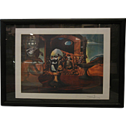 Framed Illusion Skull Print Signed by Salvador Dali