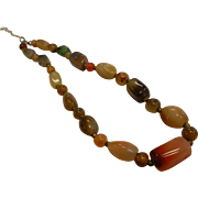 Multi-Colored Natural Agate Bead Choker Necklace