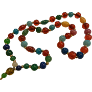 Vintage Multi-Colored Peking Glass Bead Necklace