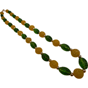 Vintage Green & Yellow Molded Glass Bead Necklace