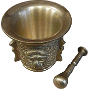 Solid Brass Mortar & Pestle w/ Lion Faces - Large