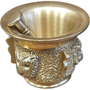 Solid Brass Mortar & Pestle Set w/ Lion Faces - Small