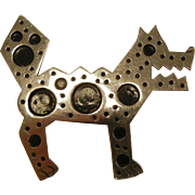 Vintage Mexico Sterling Silver Brooch - Steampunk Modernist Dog