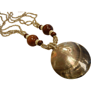 Bohemian-Style Abalone Shell Necklace w/ Shell & Wood Beads
