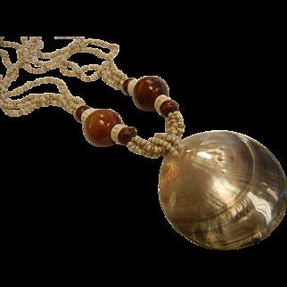 Bohemian-Style Abalone Shell Necklace w/ Shell & Wood Beads
