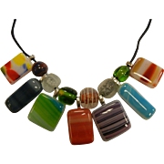 Artistic Multi-Colored Glass Pendant Necklace