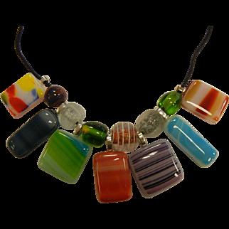 Artistic Multi-Colored Glass Pendant Necklace