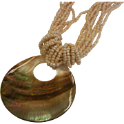 Abalone Shell Fashion Necklace w/ Pearlescent Beads