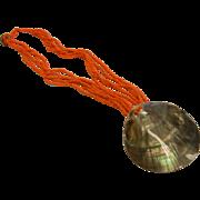 Abalone Shell Fashion Necklace w/ Orange Beads