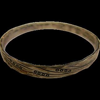 Vintage Signed Sterling Silver Bangle Bracelet w/ Engraved Designs