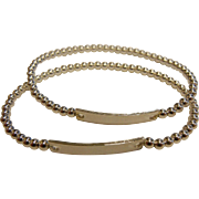 Pair of Fine Polished Sterling Silver Beaded Stretch Bracelets
