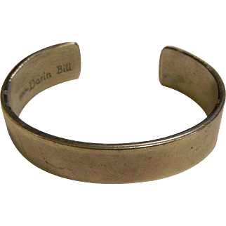 Signed Sterling Silver Cuff Bracelet by Darin Bill