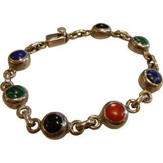Vintage Mexico Sterling Silver Link Bracelet w/ Inlaid Natural Gemstones