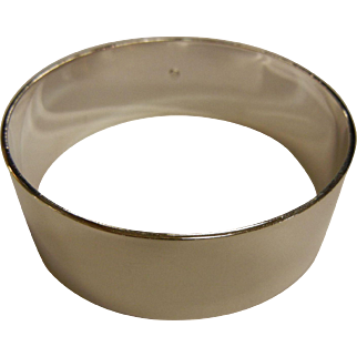 Wide Polished Sterling Silver Bangle Bracelet - 9""