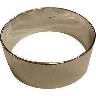 Wide Polished Sterling Silver Bangle Bracelet - 7-3/4""