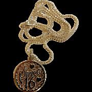 """Fine Sterling Silver """"Sweet 16"""" Pendant w/ 18"""" Chain"""