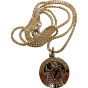 """Fine Sterling Silver """"Saint Christopher Protect Us"""" Pendant w/ 20"""" Chain"""