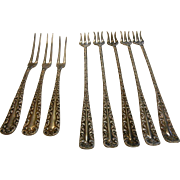 Vintage Rogers & Hamilton Patented Silver Hors D'Oeuvres Forks - Set of 8