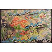 Framed Canvas Painting - Underwater Scene w/ Fish