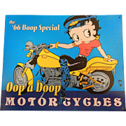 "Betty Boop ""66 Boop Special"" Tin Sign ""Oop a Doop Motorcycles"""