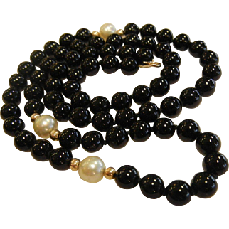 Fine 14K, Onyx & Pearl Bead Necklace
