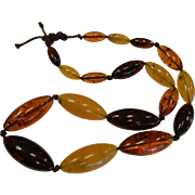 Vintage Tri-Color Amber Bead Necklace