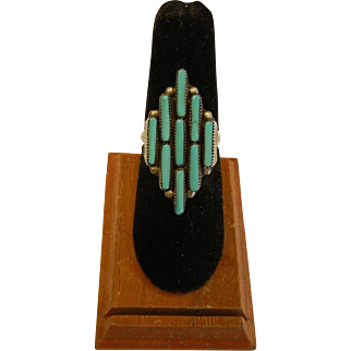 Vintage Sterling Silver Ring w/ Petite Point Turquoise