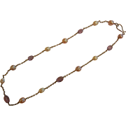 Vintage Natural Amethyst & Cultured Pearl Necklace