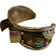 Vintage Native American Sterling Silver Turquoise Watch Cuff Bracelet