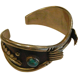 Vintage Sterling Silver Turquoise Watch Cuff Bracelet