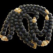 Vintage Pearl & Lapis Lazuli Bead Necklace w/ 14K Clasp