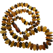 Vintage Graduated Natural Amber Bead Necklace