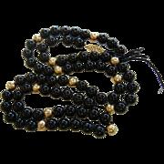 Vintage Black Onyx Bead Necklace w/ 14K Clasp