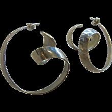 Designer Signed Sterling Silver Modernist Stud Earrings