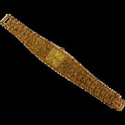 Vintage ELGIN Diamond-Quartz Nugget-Style Gold-Tone Wrist Watch