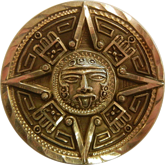 Vintage Mexican Sterling Silver Sun God Pendant/Brooch
