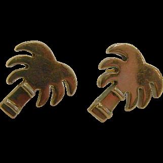 Cute Mexican Sterling Silver Palm Tree Earrings