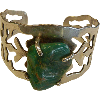 Vintage TAXCO Mexico Sterling Silver Cuff Bracelet w/ Natural Turquoise