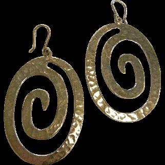 Sterling Silver Large Spiral Earrings