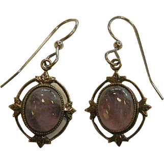Vintage Silver Earrings w/ Natural Amethyst Cabochons