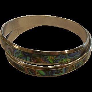 Pair of Silver-Tone Bangle Bracelets w/ Inlaid Abalone