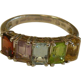Fine Sterling Silver Ring w/ Multi-Colored Gemstones
