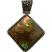 Signed Abalone Inlaid Sterling Silver Pendant