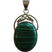 Fine Natural Malachite Sterling Silver Pendant