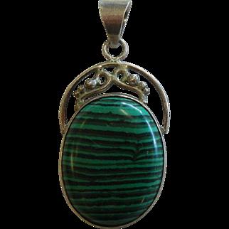 Fine Natural Malachite Sterling Silver Pendant