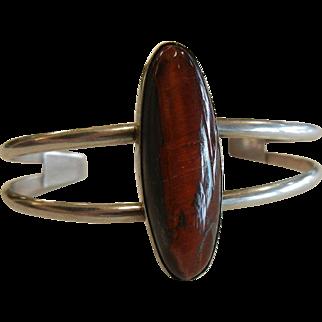 Vintage J Hayes Signed Sterling Silver Cuff Bracelet w/ Hawk's Eye Feldspar