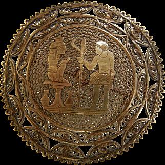 Vintage Silver Egyptian Filigree Medallion Brooch