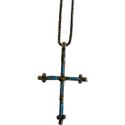 Vintage Sterling Silver Petite Point Turquoise Cross Pendant