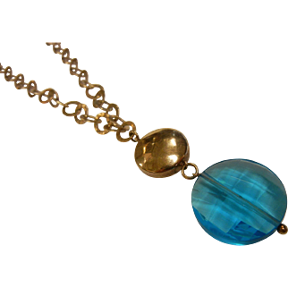 Fine Gilded Sterling Silver Necklace w/ Synthetic Blue Topaz